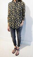 ISABEL MARANT Size 44 Silk Blend Ikat Print Tao Long Sleeve Blouse