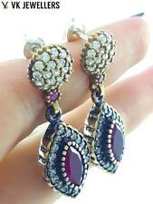 Sterling Silver Ruby Earrings E1505 Turkish Ottoman Handmade Jewelry 925