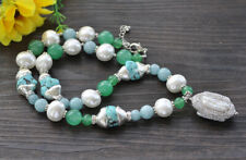 "Z9986 22"" 31mm Blue Aquamarine Green Jade White Shell Pearl Necklace CZ Pendant"
