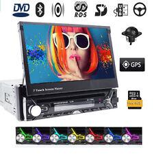"Bluetooth Single 1DIN 7"" Touch Screen Car Stereo DVD Radio GPS Navigation Camera"