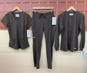 NEW Skechers Brown Scrubs Set With Small Top, Small Pants, & Small Jacket NWT