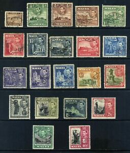 MALTA 1938 - 43 KGVI SET OF 21 MOUNTED MINT Or FINE USED TO 10/-