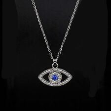 Silver Plated Blue Crystal Evil Eye Pendant Necklace Chain Fashion Women Jewelry