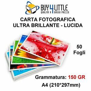 50 Fogli Carta Fotografica Ultra Brillante / Lucida / High Glossy 150 grammi A4