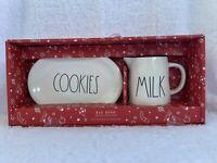 NEW Rae Dunn Christmas COOKIES & MILK Oval Plate Pitcher Set *EXPERT SHIPPER*