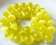 "Gemstone Beads Around Necklace 18""#Zy3523 Lovely 8mm Shiny Yellow Mexico Opal"