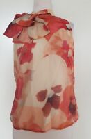 CUE Reds/Cream Floral Top with Bow Detail  Size 8