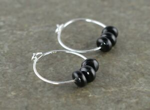 Small Black Onyx Rondelle Gemstone & 15mm Sterling Silver Hoop Earrings Gift Box