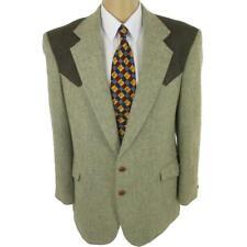 44 L Taos Country Western Style Beige Tweed Wool 2 Btn Mens Jacket Sport Coat