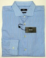NWT $145 Hugo Boss Blue Stripe Shirt LS Mens XL 2X Ridley_F 50302512428 Slim Fit
