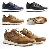 Scarpe da Uomo Sneakers in Vera Pelle Sportive Eleganti Cuoio Blu 40 42 43 44 45