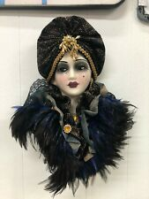 Unique Creations Lady Mask Signed Numbered Black head wrap black & blue feathers