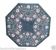 """24"""" Green Marble Dining Table Top Pearl Inlay Marquetry Mosaic Furniture Decor"""