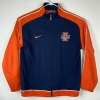 Nike Team Authentic Illinois Fighting Illini Orange Blue Zip Basketball Jacket M