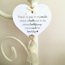 Personalised Tooth Fairy Plaque Sign - Heart Star Decoration Toothfairy Idea Bag