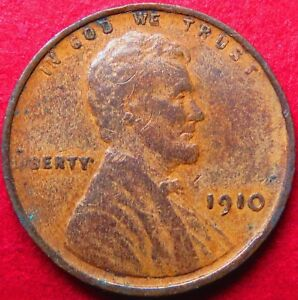 "1910-p  LINCOLN WHEAT PENNY, Very Fine ""LOW MINTAGE"" Philadelphia Mint Coin #3"