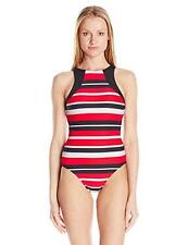 NEW Seafolly Walk The Line High Neck Maillot One Piece Red Size 14 rrp $169.95