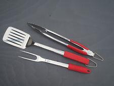 BODUM FYRKAT BBQ Tools Stainless Red Rubber Handle -Set of 3-Tongs, Turner, Fork