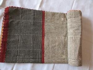 Indian Kantha Quilt Throw Hand Blocked Reversible Bedspread Cotton Gudri Twin
