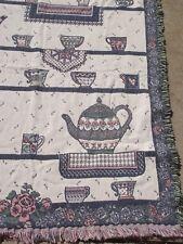 "throw afghan tapestry 58"" x 46 1/2"" teapot theme blues pinks 100% cotton EUC"