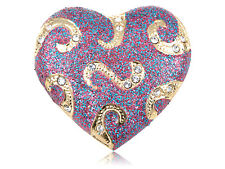 Crystal Elements Glitter Swirl Hold On My Heart Pin Brooch ALA