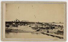 Civil War Baton Rouge CDV Busy Scene w/Pontoon Bridge McPherson & Oliver c1863
