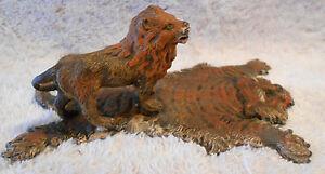 Bergmann Detailed Lion Standing on Tiger Skin Rug Austrian Vienna 5x3x2 inches