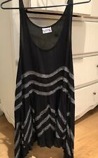 Free People XS She Swings Trapeze Top Tunic Short Dress Black spotted