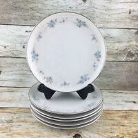 M MITA CHINA Japan  Blue  Silver Roses Bread Butter Plates Set of 6