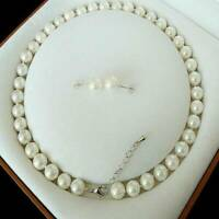 8mm White Akoya Cultured Shell Pearl Necklace Earrings Set Wedding Party Jewelry