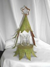 Terrific,Vtg,Hand-Made Metal Xmas Tree Star On Top Is Hanger,Candle Option,#5391