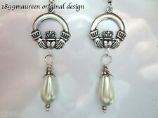 Art Nouveau Art Deco style earrings Irish Claddagh Celtic romantic pearl drop