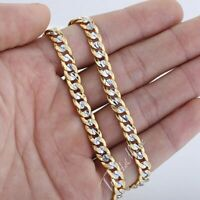 6mm Mens Hammered Cut Curb Cuban Link Necklace Silver&Gold Filled Chain Jewelry