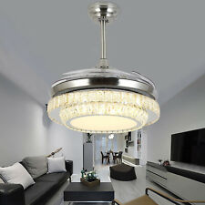 42inch Crystal Invisible Fan Ceiling Light Led Pendant Fixtures For Bedroom Home
