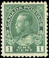 Canada Mint H 1911 F-VF Scott #104 1c Admiral King George V Stamp Issue