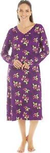 Camille Womens Purple Floral Print Knee Length Long Sleeve Nightdress