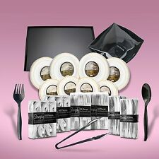 480 Piece Disposable Dinner Set With Platters & Bowls Gold Rims For 80 People