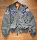 NASA AMES Employee BOMBER Jacket FLIGHT L-2B Alpha Industries LARGE VMS Patches