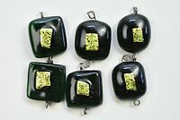 Lot of 6 Jewelry Green Colors  Gold Dichroic  Fused Glass Cabochons Handmade