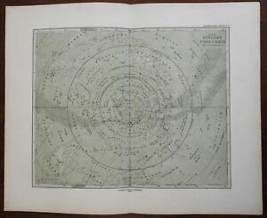 Southern Night Sky Constellations Zodiac 1876 Bar & Bruhns detailed star map