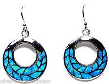 Blue Fire Opal Inlay Genuine 925 Sterling Silver Disc Design Dangle Earrings