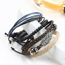 Bohemian Men's Braided Leather Bracelet Stainless Steel Bangle Cuff Wristband AU