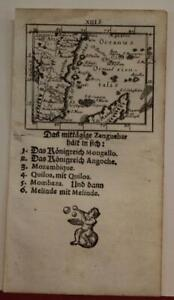 MOZAMBIQUE & NORTHERN MADAGASCAR 1702 MÜLLER UNUSUAL ANTIQUE MINIATURE MAP