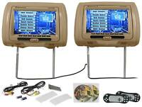 "Rockville RTSVD961-BG 9""  Beige Touchscreen Dual DVD/HDMI Car Headrest Monitors"