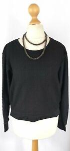 All Saints XS 6 8 10 Top Sweatshirt Jumper Blue Black Mesh Lace Crop VGC RRP 78