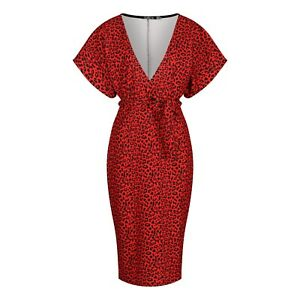 Kimono Sleeve Red & Black Leopard Animal Print Belted Wiggle Dress BNWT Size 14