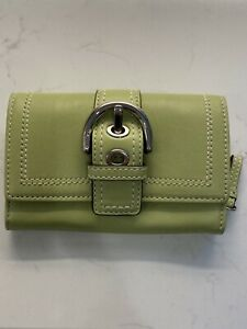 COACH Wallet Mini Multifunction Coin Purse + Key Chain Green Leather Buckle