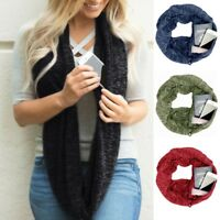 Women Winter Warm Convertible Infinity Scarf Pocket Loop Zipper Pocket Scarves A