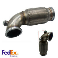 """Stainless 3"""" V-Band Downpipe Low Profile 90 Degree Flanged w/Flex Bellow Pipe US"""
