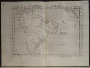 SOUTH AMERICA 1564 PTOLEMY/RUSCELLI UNUSUAL ANTIQUE ORIGINAL COPPER ENGRAVED MAP